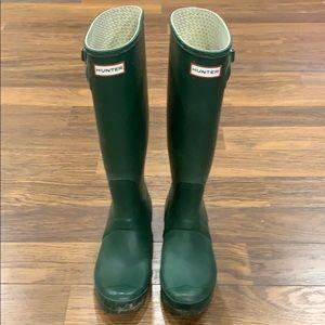 Green Tall Hunter Rain Boots - Matte
